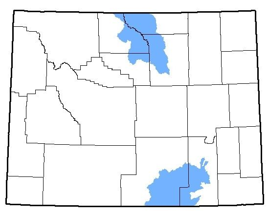 A map of the native range of the Wood Frog in Wyoming.