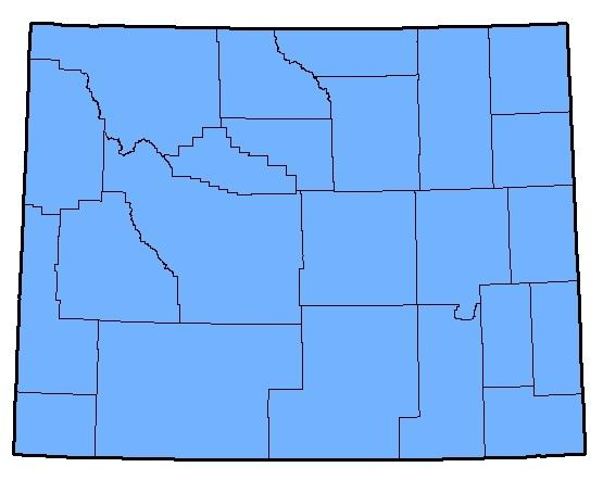 A map of regions in Wyoming that the Boreal Chorus Frog inhabits.